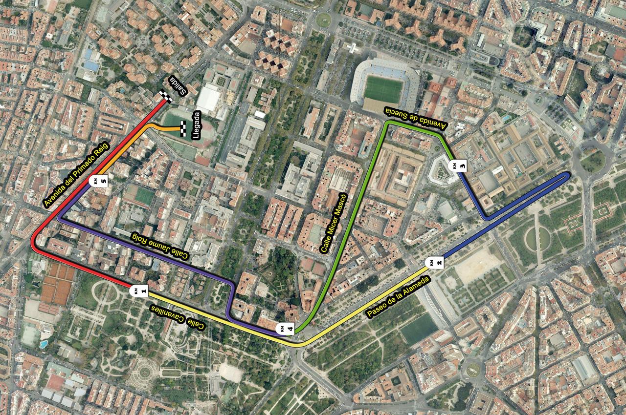 Recorrido de la 6ª Carrera Universitat de València