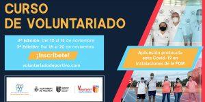 La Oficina del Voluntariado Deportivo ofrece dos nuevas ediciones del curso de formación ante Covid-19 dirigido al personal voluntario